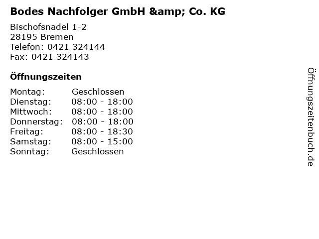 Bodes Nachfolger GmbH & Co. KG in Bremen: Adresse und Öffnungszeiten
