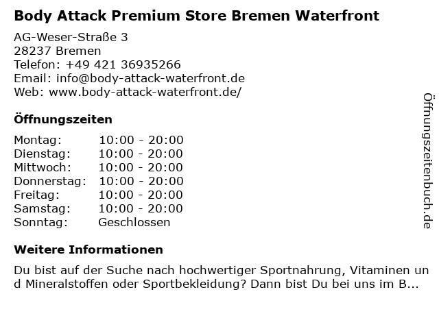 Body Attack Premium Store Bremen Waterfront in Bremen: Adresse und Öffnungszeiten