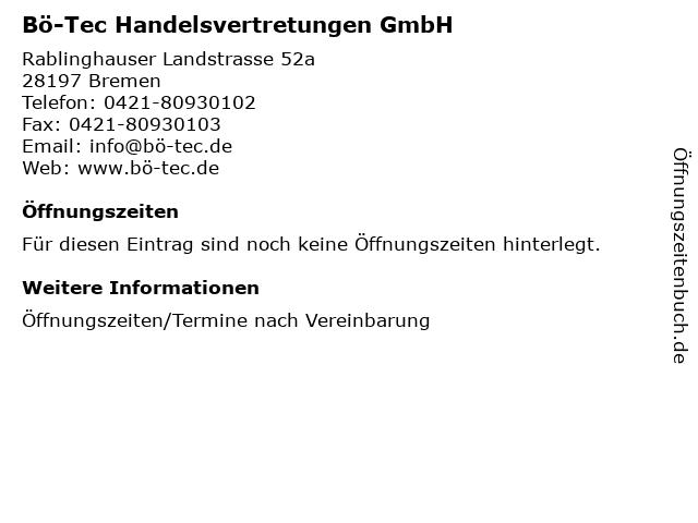 Bö-Tec Handelsvertretungen GmbH in Bremen: Adresse und Öffnungszeiten