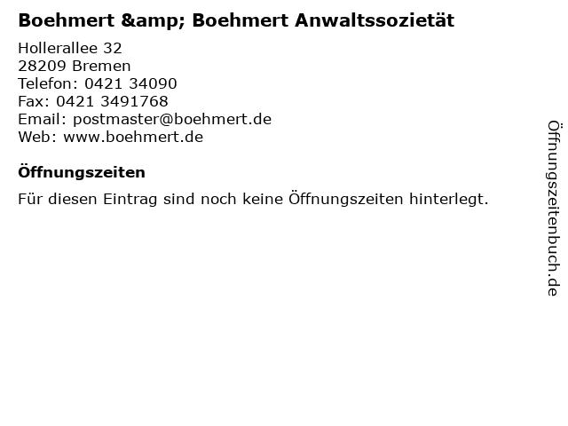 Boehmert & Boehmert Anwaltssozietät in Bremen: Adresse und Öffnungszeiten