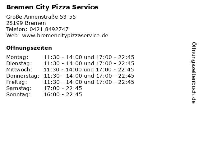 Bremen City Pizza Service in Bremen: Adresse und Öffnungszeiten
