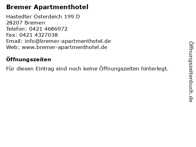 Bremer Apartmenthotel in Bremen: Adresse und Öffnungszeiten