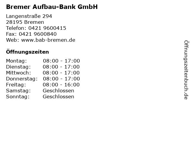 Bremer Aufbau-Bank GmbH in Bremen: Adresse und Öffnungszeiten