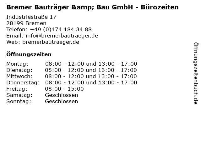 Bremer Bauträger & Bau GmbH - Bürozeiten in Bremen: Adresse und Öffnungszeiten
