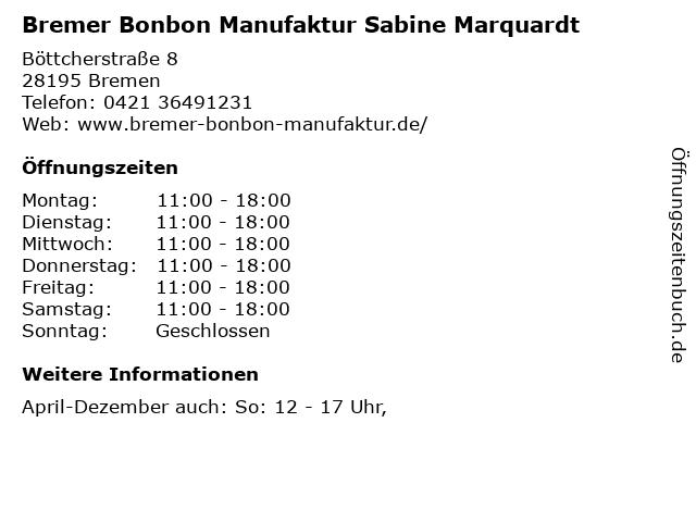 Bremer Bonbon Manufaktur Sabine Marquardt in Bremen: Adresse und Öffnungszeiten