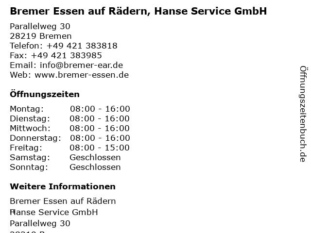 Bremer Essen auf Rädern, Hanse Service GmbH in Bremen: Adresse und Öffnungszeiten