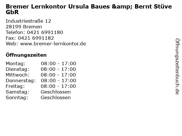 Bremer Lernkontor Ursula Baues & Bernt Stüve GbR in Bremen: Adresse und Öffnungszeiten
