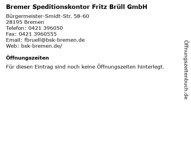 Bremer Speditionskontor Fritz Brüll GmbH in Bremen: Adresse und Öffnungszeiten