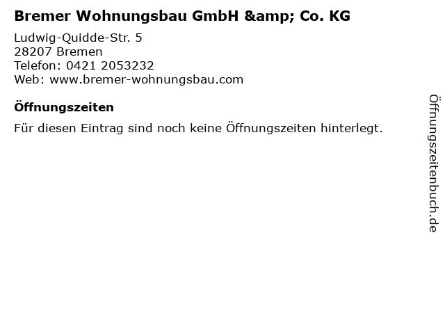 Bremer Wohnungsbau GmbH & Co. KG in Bremen: Adresse und Öffnungszeiten