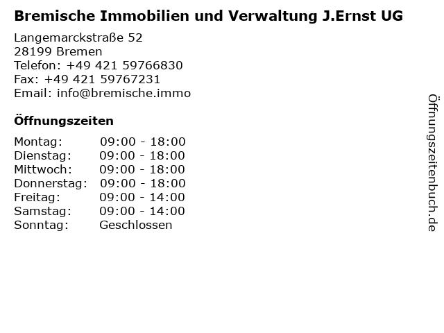Bremische Immobilien und Verwaltung J.Ernst UG in Bremen: Adresse und Öffnungszeiten