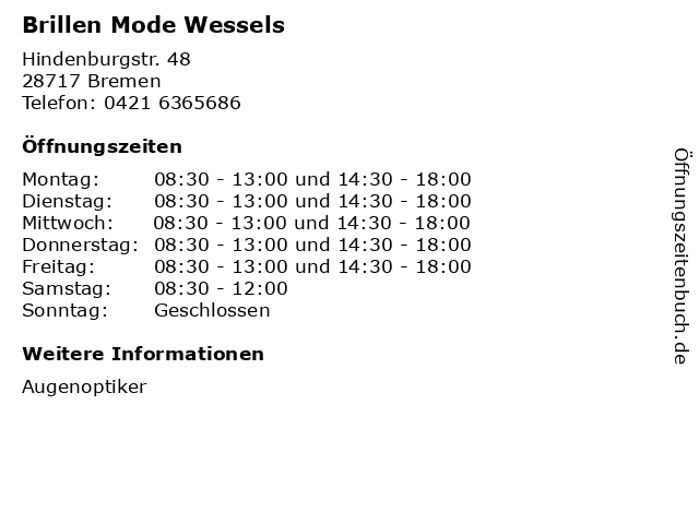 Brillen Mode Wessels in Bremen: Adresse und Öffnungszeiten
