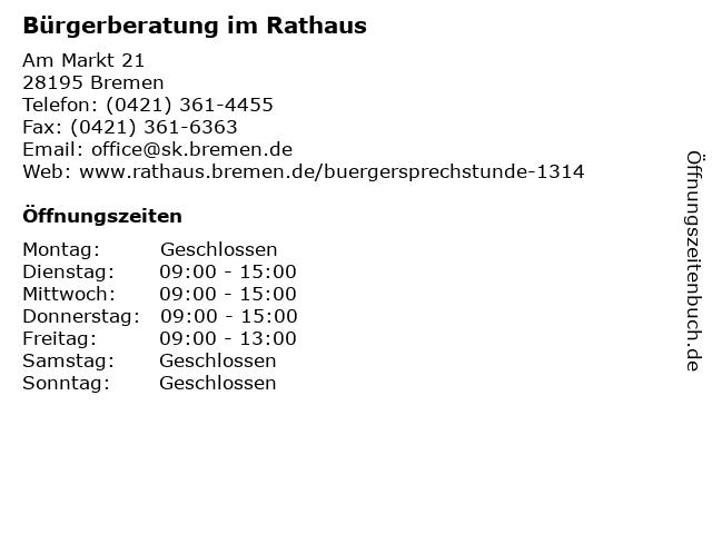 Bürgerberatung im Rathaus in Bremen: Adresse und Öffnungszeiten