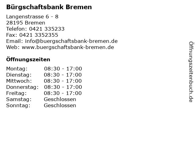 Bürgschaftsbank Bremen in Bremen: Adresse und Öffnungszeiten