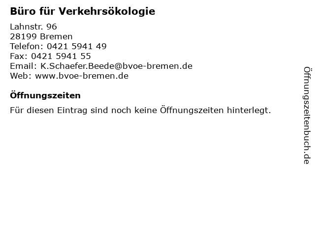 Büro für Verkehrsökologie in Bremen: Adresse und Öffnungszeiten