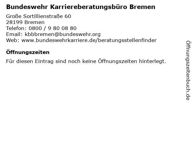 Bundeswehr Karriereberatungsbüro Bremen in Bremen: Adresse und Öffnungszeiten