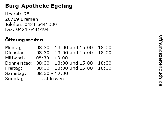 Burg-Apotheke Egeling in Bremen: Adresse und Öffnungszeiten