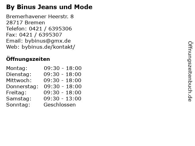 By Binus Jeans und Mode in Bremen: Adresse und Öffnungszeiten