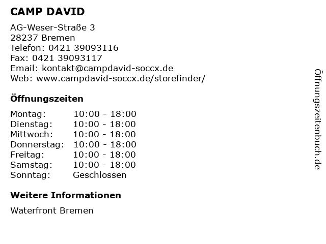 CAMP DAVID in Bremen: Adresse und Öffnungszeiten