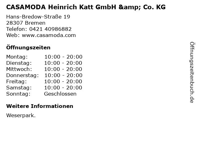 CASAMODA Heinrich Katt GmbH & Co. KG in Bremen: Adresse und Öffnungszeiten
