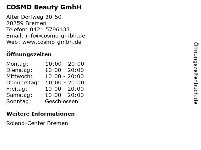 COSMO Beauty GmbH in Bremen: Adresse und Öffnungszeiten