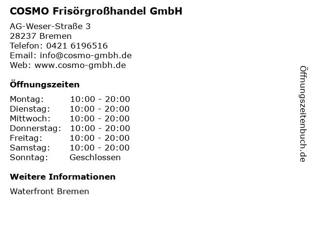 COSMO Frisörgroßhandel GmbH in Bremen: Adresse und Öffnungszeiten
