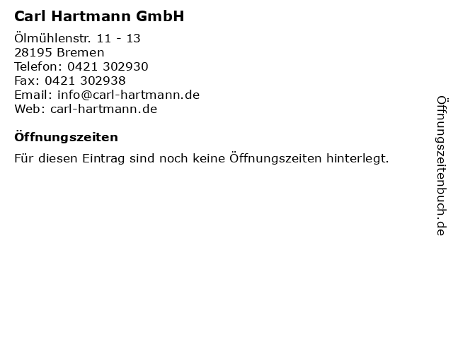 Carl Hartmann GmbH in Bremen: Adresse und Öffnungszeiten