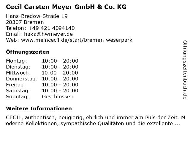 Cecil Carsten Meyer GmbH & Co. KG in Bremen: Adresse und Öffnungszeiten