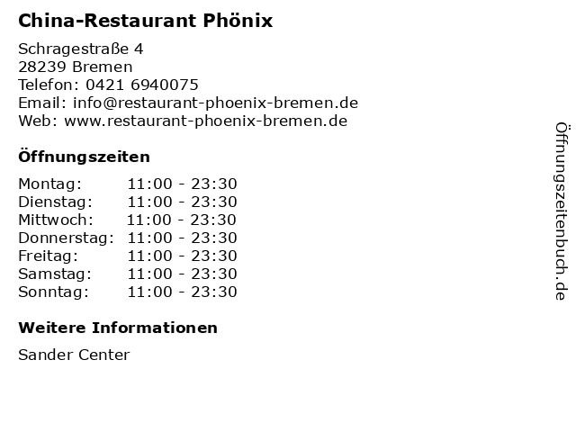 China-Restaurant Phönix in Bremen: Adresse und Öffnungszeiten