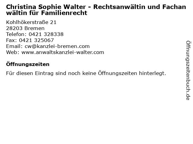 Christina Sophie Walter in Bremen: Adresse und Öffnungszeiten