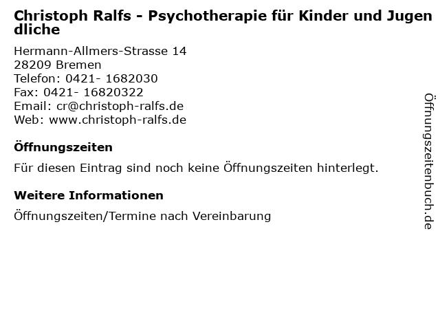 Christoph Ralfs - Psychotherapie für Kinder und Jugendliche in Bremen: Adresse und Öffnungszeiten