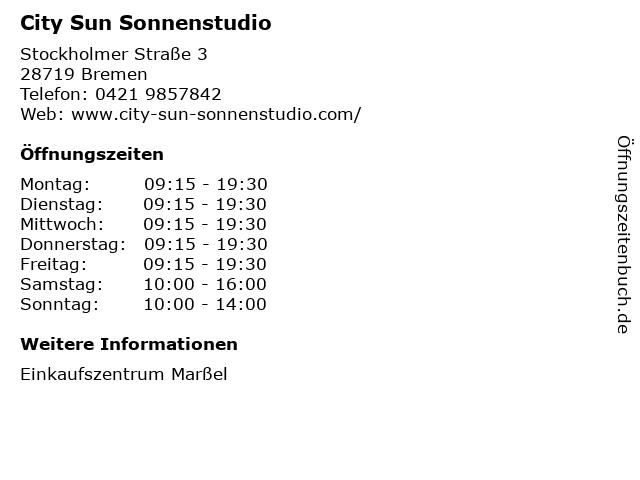 City Sun Sonnenstudio in Bremen: Adresse und Öffnungszeiten