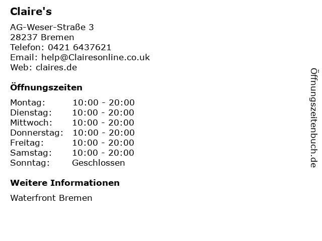 Claire's in Bremen: Adresse und Öffnungszeiten