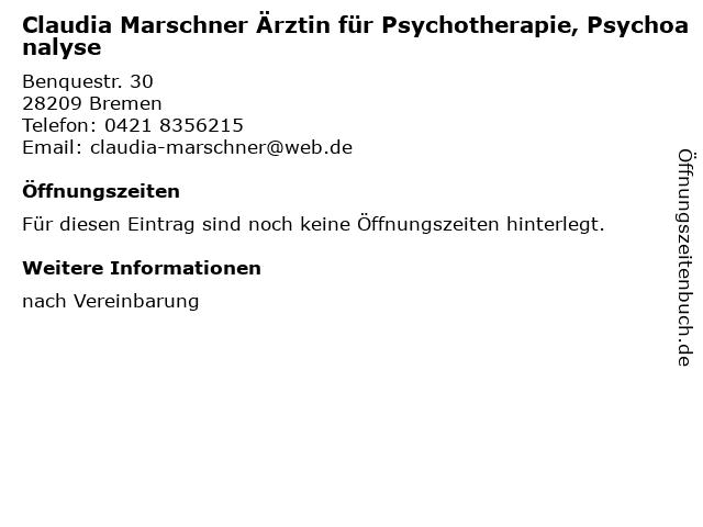 Claudia Marschner Ärztin für Psychotherapie, Psychoanalyse in Bremen: Adresse und Öffnungszeiten