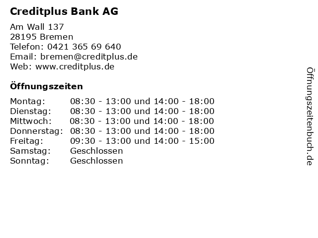 Creditplus Bank AG in Bremen: Adresse und Öffnungszeiten