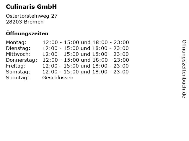 Culinaris GmbH in Bremen: Adresse und Öffnungszeiten