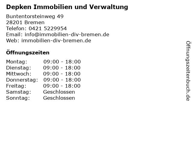Depken Immobilien und Verwaltung in Bremen: Adresse und Öffnungszeiten