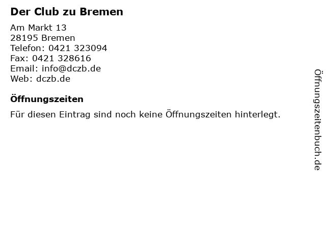 Der Club zu Bremen in Bremen: Adresse und Öffnungszeiten
