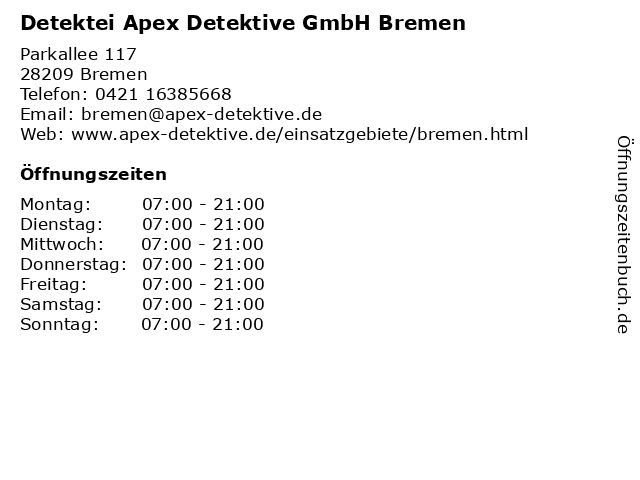 Detektei Apex Detektive GmbH Bremen in Bremen: Adresse und Öffnungszeiten