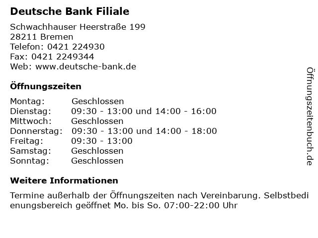 Deutsche Bank Filiale in Bremen: Adresse und Öffnungszeiten