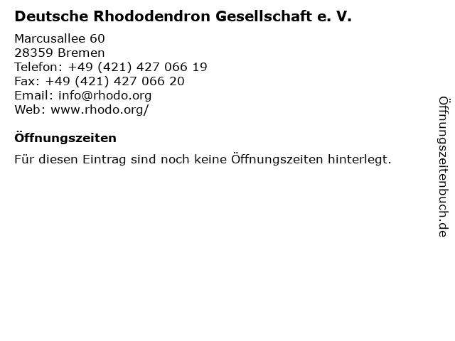Deutsche Rhododendron Gesellschaft e. V. in Bremen: Adresse und Öffnungszeiten