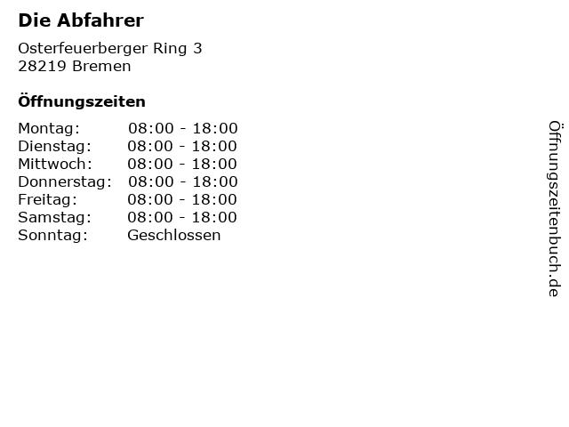Die Abfahrer in Bremen: Adresse und Öffnungszeiten