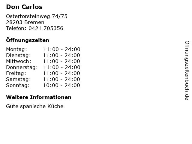 Don Carlos in Bremen: Adresse und Öffnungszeiten