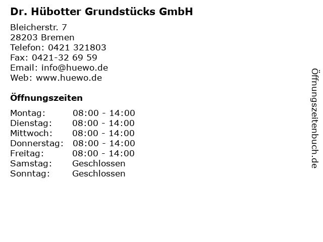 Dr. Hübotter Grundstücks GmbH in Bremen: Adresse und Öffnungszeiten