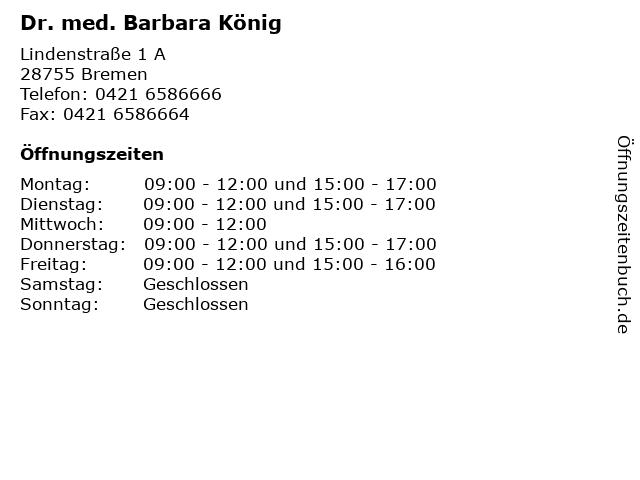 Dr. med. Barbara König in Bremen: Adresse und Öffnungszeiten