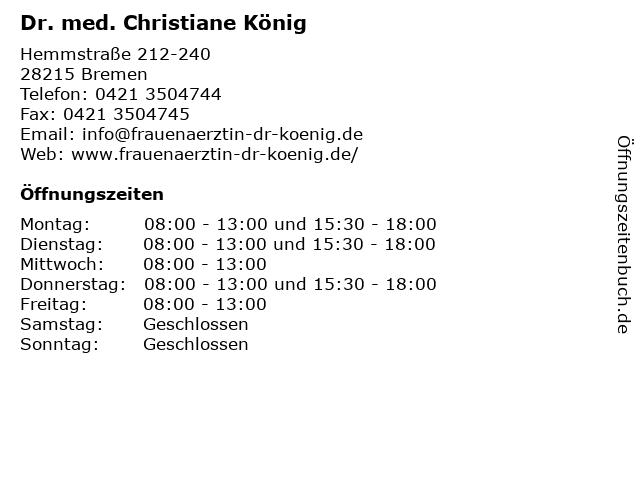 ᐅ öffnungszeiten Dr Med Christiane König Hemmstraße 212 240 In