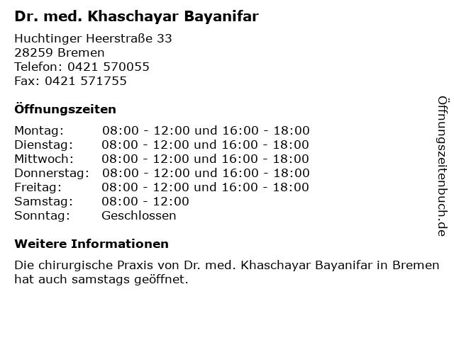Dr. med. Khaschayar Bayanifar in Bremen: Adresse und Öffnungszeiten