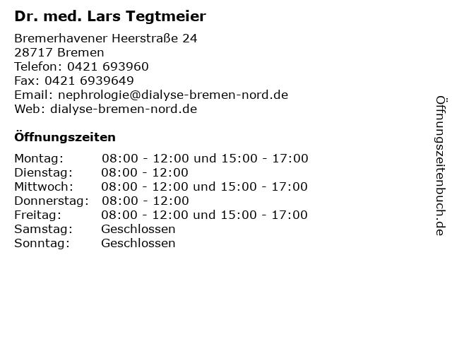 Dr. med. Lars Tegtmeier in Bremen: Adresse und Öffnungszeiten