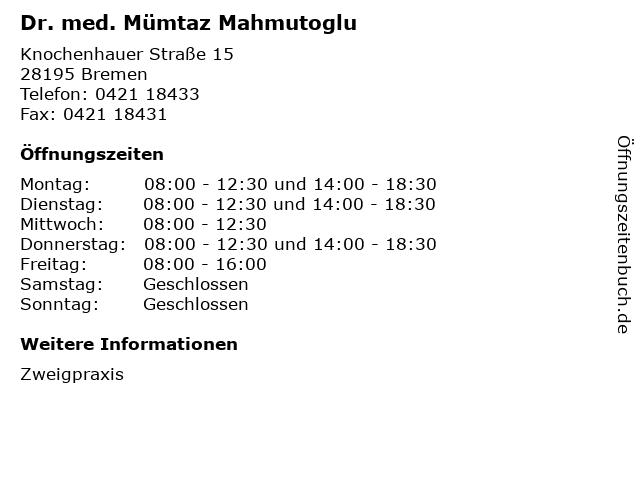 Dr. med. Mümtaz Mahmutoglu in Bremen: Adresse und Öffnungszeiten