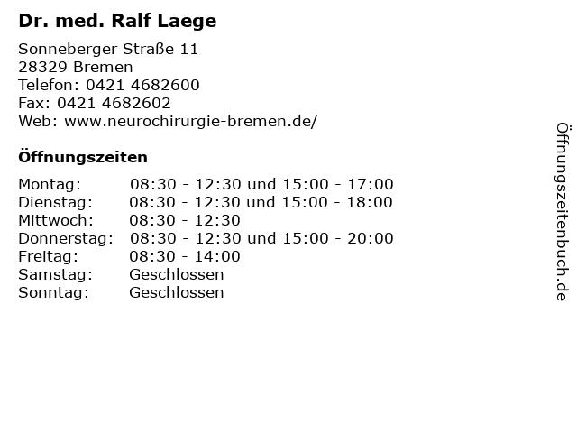 Dr. med. Ralf Laege in Bremen: Adresse und Öffnungszeiten