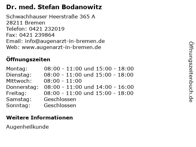 Dr. med. Stefan Bodanowitz in Bremen: Adresse und Öffnungszeiten